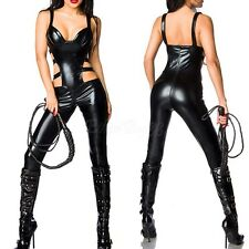 New Catsuit PVC Lingerie Faux Leather Bodysuit Women Jumpsuit Clubwear Suit Cos