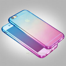 Ombre Shockproof Hybrid Back Front Rubber Clear Cover Case For iPhone 6 6S Plus