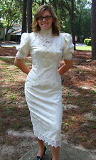 Jessica McClintock Dress Off-White Brocade Victorian Style Wedding Bustle SZ 12