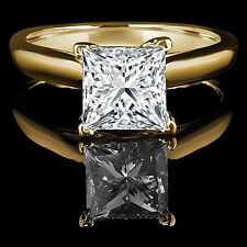 2.0 ct BRILLIANT Princess CUT SOLITAIRE ENGAGEMENT RING REAL 14K Yellow GOLD