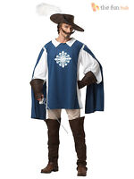 Adult Musketeer Costume Deluxe Mens Medieval Knight Cavalier Fancy Dress Outfit