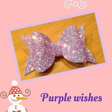 Lilac Mixed Glitter Fabric Hair Bow Clip