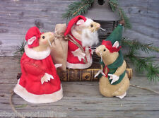 "Easy 5"" tall Christmas Santa, Mrs Claus & Elf Mice Mouse Sewing Pattern Holiday"