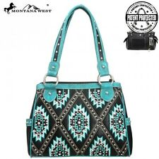 Concealed Gun Pistol Weapons Carry Purse Handbag Teal Turquoise Aztec Print