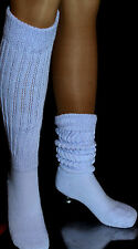 Long Lt Blue Slouch To Thigh high Knee Scrunchie Socks run heavy large Hooters