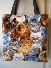 Cat Cats Tote Bag Tabby Gray Siamese Kitty Kitten Handmade Purse Limited