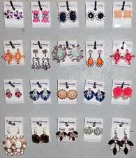 Earrings Wholesale 20 Pair Rhinestone Dangle Pierced Post New Multi Color X5