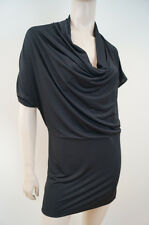 BLAQUE LABEL Black Sheen Short Sleeve Mini Dress Long Tunic Top Sz:M