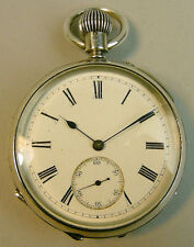 VICTORIAN ANTIQU SILVER OPEN FACE POCKET WATCH BIRMINGHAM 1893