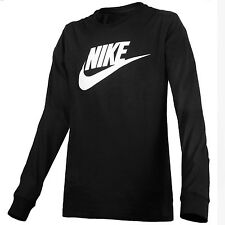 Nike Futura Icon Long Sleeve T-Shirt Mens 708466-011 Black Logo Crew Tee Size M