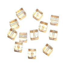 SCC138f LIGHT PEACH Pink Faceted Square Cube 4mm Swarovski Crystal Beads 12/pkg
