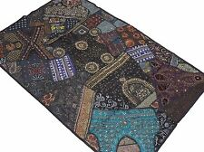 Black Living Room Beaded Tapestry - Ethnic Indian Wall Hanging Sari Textile 60""