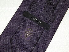 GUCCI GG Italy Men SOLID PURPLE Eggplant Necktie THICK Knit WOVEN Silk Neck Tie