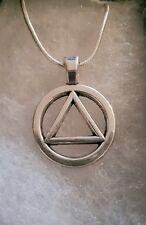 Alcoholics Anonymous symbol sobriety necklace  sterling silver AA NA GA box