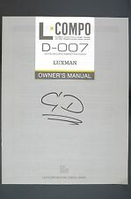 LUXMAN D-007 Original CD-Player Bedienungsanleitung/Owner`s Manual