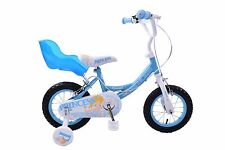 """PRINCESS 12"""" WHEEL GIRLS FROZEN STYLE BIKE WITH DOLLY BABY SEAT BLUE AGE 3+"""