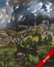 VIEW OF TOLEDO SPAIN SPANISH LANDSCAPE PAINTING EL GRECO ART REAL CANVAS PRINT