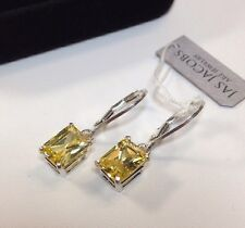 BEAUTIFUL 5ct Canary Citrine Sterling Silver Drop Dangle Earrings NWT Emerald