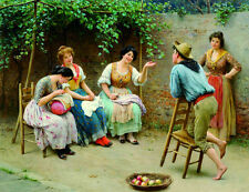 Oil painting Eugene de Blaas - Conversation young women and man in village view