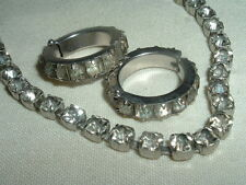 VINTAGE ART DECO WHITE RHINESTONE CZECH NECKLACE N CLIP EARRINGS SET IN GIFT BOX