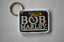 """BOB MARLEY"" EMBROIDERY KEYRING EMBROIDERED PATCH BADGE KEY CHAIN CHROME RINGS"