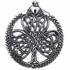 CELTIC Knot SHAMROCK with CLADDAGH PENDANT 925 Sterling SILVER 25mm Dia GIFT BOX