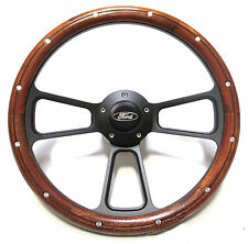 "Ford F-Series Truck w/Ididit Steering Column 14"" Mahogany Steering Wheel"