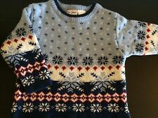 "New b.t. Kids NAVY BLUE WHITE RED CREWNECK ""SNOWFLAKE"" Sweater Size 18 Months"
