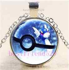 Pokemon Ball Photo Cabochon Glass Dome Silver Chain Pendant Necklace
