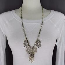 antiqued Bronze Filigree pendant extra long necklace earrings set lightweight