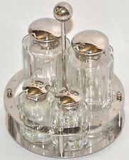 ALESSI STAINLESS STEEL CLOVER CONDIMENT SET - OIL VINEGAR SALT & PEPPER + HOLDER
