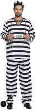 Mens Adult Black & White Prisoner Convict Fancy Dress Stag Party Costume U00 309