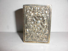 Antique nice 800 Silver matchbox match box holder Art Nouveau repousse flowers