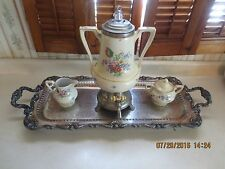 Art Deco Royal Rochester Fraunfelter Hand Painted Coffee Set w/ Silverplate Tray