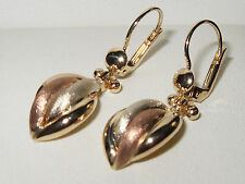 Beautiful IL Re Qvc 9ct yellow & rose gold fancy seashell leverback earrings
