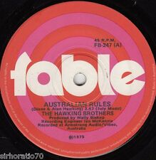 HAWKING BROTHERS Australian Rules / The Queensland Drover 1975 OZ 45