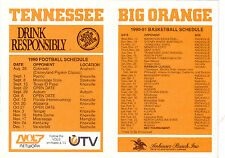 1990-91 UNIVERSITY OF TENNESSEE VOLUNTEERS BASKETBALL SCHEDULE AND 1990 FOOTBALL