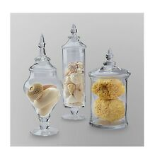 3 Piece Apothecary Jars Set Glass Wedding Gift Buffet Table Decor With Lid Candy