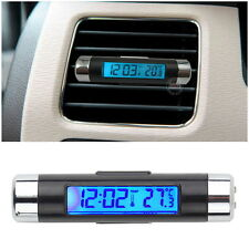 2in1 Car Auto LCD Backlight Clip-on Digital Automotive Thermometer New Clock FE