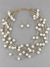 SIX STRAND CREAM FAUX PEARL GOLD TONE LONG BEAD NECKLACE EARRING