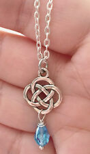 Outlander Antique Silver Celtic Knot Cross Crystal Scottish Irish Necklace Chain
