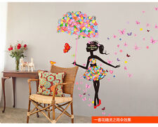 Amovible Papillon Girl Wall Art Sticker Vinyle Autocollant PVC Piéce