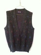 VINTAGE Pine State sweater vest, medium  gray, black with red and blue