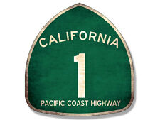 4x4 inch VINTAGE Pacific Coast Highway 1 Sign Shaped Sticker -california pch old
