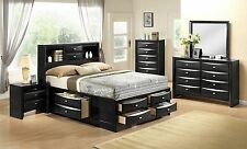 Black King Storage Platform Bed Bookcase Headboard Set Furniture