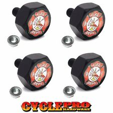 4 Black Hex Billet Alum Motorcycle License Plate Frame Tag Bolts FIRE FIGHTER FD