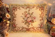 "20"" European Country Home Decor Shabby Floral Wool Needlepoint Cushion Pillow"