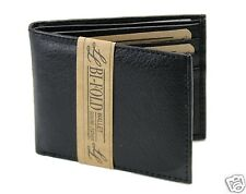 New Super A Mens Bifold Genuine Leather Wallet Pockets Card ID Black Slim Thin