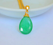Large Natural Faceted Green EMERALD Pear Wire Wrapped Yellow Gold Pendant