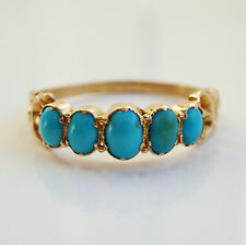 Stunning Antique Victorian 15ct Gold Turquoise Cabochon Ring c1875; Size 'N 1/2'
